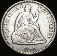 1861 SEATED LIBERTY HALF DIME SILVER TYPE COIN ----  ---- X835