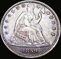 1859 SEATED LIBERTY HALF DIME SILVER TYPE COIN ---- STUNNING ---- X836