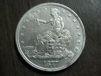 1877 US SILVER SEATED TRADE DOLLAR XF/AU DETAILS AUTHENTIC C