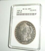 1879 $1 MORGAN DOLLAR COIN ANACS MINT STATE 64 DMPL VAM-32 DEEP MIRROR PROOFLIKE TONED