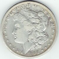 1898-S $1 MORGAN SILVER DOLLAR, SEMI-KEY, FINE