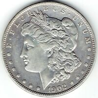 1902-P $1 MORGAN SILVER DOLLAR, UNDERRATED DATE, COIN WAS CLEANED