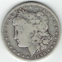 1899-S $1 MORGAN SILVER DOLLAR, SEMI-KEY VG DETAILS, LIKELY CLEANED