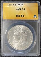 1897-S $1 MORGAN SILVER DOLLAR ANACS SLAB MINT STATE 62 BETTER DATE