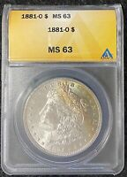 1881-O $1 MORGAN SILVER DOLLAR ANACS SLAB MINT STATE 63, PARTLY TONED, GREAT COIN