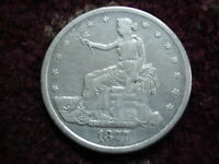 1877 S US SILVER SEATED TRADE DOLLAR VF  DETAILS AUTHENTIC C
