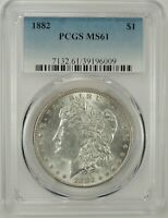 1882-P $1 MORGAN SILVER DOLLAR PCGS MINT STATE 61 39196009 - GREAT LOOKING BU COIN