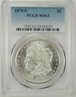 1879-S $1 MORGAN SILVER DOLLAR PCGS MINT STATE 63 39196029 - EYE APPEAL REFLECTIVE