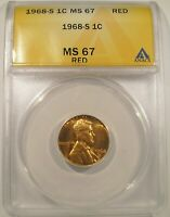 1968 S LINCOLN CENT ANACS MS 67 RED ONLY ONE GRADED HIGHER TEN PHOTOS LUSTROUS