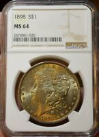 THE ST MINT STATE 64 1898 P MORGAN SILVER DOLLAR NGC YOU'LL EVER SEE    OLIVE TONING