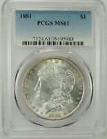 1881-P $1 MORGAN SILVER DOLLAR PCGS MINT STATE 61 39195988 - GREAT LOOKING BU COIN