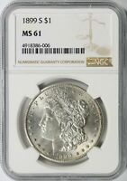 1899-S MORGAN SILVER DOLLAR $1 NGC MINT STATE 61