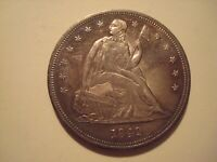 1842 US LIBERTY SEATED SILVER DOLLAR $1 $1.00 COIN SUPER AU