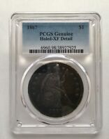 1867 SEATED LIBERTY SILVER DOLLAR PCGS GENUINE HOLED - EXTRA FINE  DETAIL