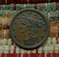 1856 BRAIDED HAIR HALF CENT, EXTRA FINE     TOUGH DATE, MINTAGE ONLY 40,430