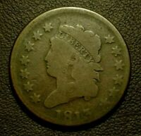 1813 CLASSIC HEAD LARGE CENT, VG    GOOD STRIKE, EVEN WEAR & NO ISSUES