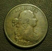 1805 DRAPED BUST HALF CENT, VF/EXTRA FINE     HANDSOME EXAMPLE OF A TOUGH DATE