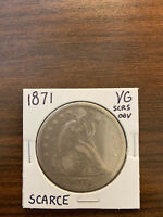 1871-P SEATED LIBERTY SILVER DOLLAR $1  GOOD VG SCRATCHES OBVERSE