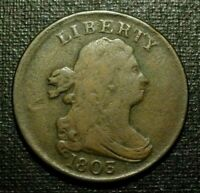 1803 DRAPED BUST HALF CENT, FINE     EXAMPLE