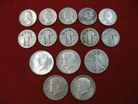 JUNK 90  U.S.SILVER COIN LOT  $5 FACE  5 HALF DOLLARS & 10 QUARTERS  FREE SHIP