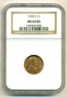 NGC 1930 S LINCOLN WHEAT CENT UNC MINT STATE 65 RED