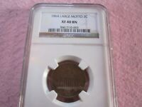 1864 TWO CENT NGC GRADED EXTRA FINE 40 LARGE MOTTO 2C