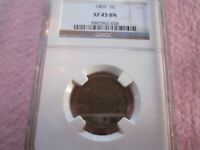 1869 TWO CENT NGC GRADED EXTRA FINE 45 2C
