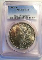 1890 O MORGAN DOLLAR VAM 13A EXTREME DIE WEAR REVERSE PCGS MINT STATE 63 ONLY 1 FINER
