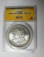 1896 P BU MORGAN DOLLAR VAM 4 DOUBLE STARS TOP 100 ANACS MINT STATE 62
