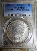 1887 O MORGAN SILVER DOLLAR PCGS MINT STATE 61 VAM-22B PITTED REV DIE CLASHED G & T READ