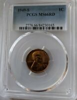 1949-S RED PCGS MINT STATE 66  LINCOLN BU   COIN UNCIRCULATED CENT  WHOLE SET LISTED