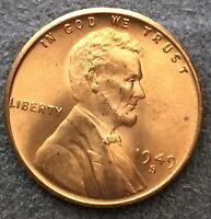 1949 S UNCIRCULATED BU RED RD - LINCOLN WHEAT CENT PENNY  FREE SHIP. B443