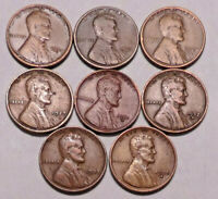 1921S 1923S 1924S 1927S 1931D 1932D 1933P 1935S LINCOLN CENT PENNY LOT OF 8