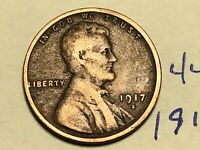 1917-S LINCOLN WHEAT SMALL CENT PENNY 4439K