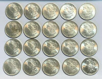 LOT OF 20 BU US PRE 1921 1878 TO 1904 $1 MORGAN SILVER DOLLARS, PRIORITY MAIL