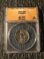 1921 STANDING LIBERTY QUARTER 25C SILVER  ANACS AU 50 DETAILS CLEANED