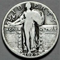 1929-D STANDING LIBERTY QUARTER  > US SILVER 25C COIN < FLAT SHIPPING  LOT 520