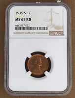 1935-S LINCOLN CENT NGC MINT STATE 65RD 57022