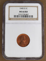 1945-S LINCOLN CENT NGC MINT STATE 66RD 78067