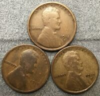 1915-P 1915-D 1915-S LINCOLN WHEAT CENTS- BETTER GRADE  FREE SHIP. B690