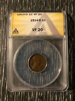 1914-D LINCOLN WHEAT CENT 1C ANACS VF 20