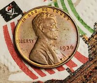 1936 CH BU LINCOLN GORGEOUSMONSTERRAINBOWTONEDTONING CENT PENNY