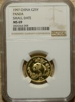 CHINA 1997 SMALL DATE G25Y 1/4 OZ GOLD PANDA NGC MINT STATE 69 NCS