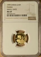 CHINA 1999 SMALL DATE G10Y 1/10 OZ GOLD PANDA NGC MINT STATE 69 NCS
