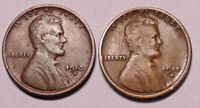 1913 D & 1915 D LINCOLN WHEAT CENT PENNY - LOT OF 2  -  SHIPS FREE