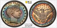 1892 PROOF BARBER HALF DOLLAR PCGS PR62 COLORFUL RAINBOW TONING LOW MINTAGE