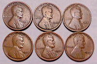 1923 P 1924 P 1925 P 1926 P 1928 P 1929 P LINCOLN WHEAT CENT PENNY - 6 COINS