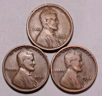1921 S 1923 S 1924 S LINCOLN WHEAT CENT PENNY - LOT OF 3 COINS  - SHIPS FREE