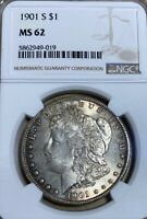 1901-S NGC MINT STATE 62 MORGAN SILVER DOLLAR