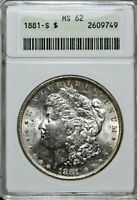 1881-S MORGAN DOLLAR MINT STATE 62 >> ANACS CERTIFIED SILVER $1 COIN <<  LOT 520